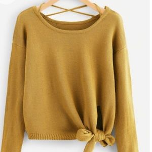 Sweaters - Knot Side Criss Cross Sweater